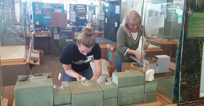 Members of Arcata Sunrise Rotary helping set-up displays when we moved to our new museum building.