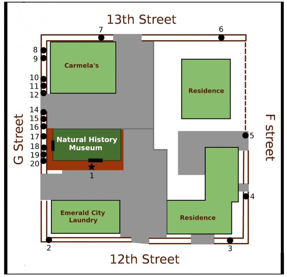 Street Map of the natural history museum. Numbers placed along the map represent a period of years