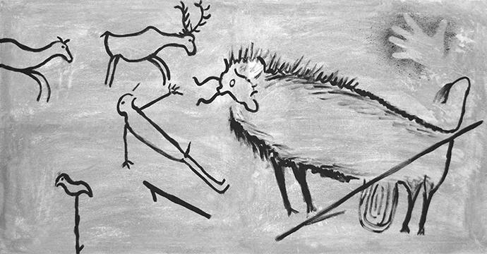 A cave painting depicting a hunting scene