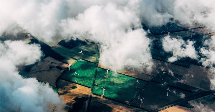 Aerial view of a windturbine farm